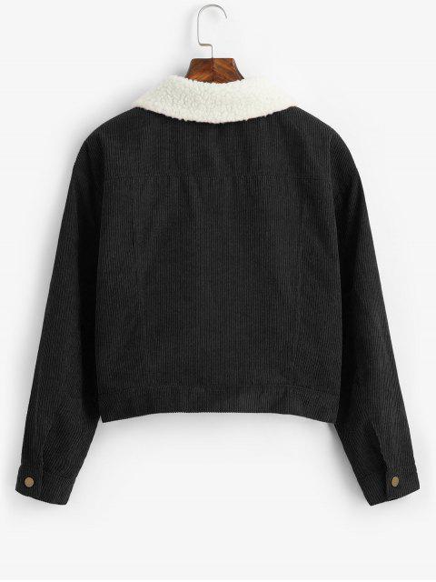women's ZAFUL Fuzzy Corduroy Jacket - BLACK XL Mobile