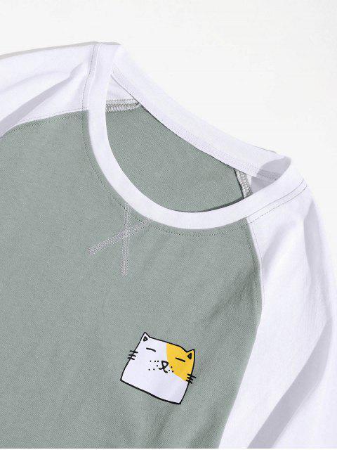 Animal creativo gráfico casual manga larga camiseta - Luz Aguamarina L Mobile