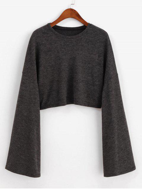 women ZAFUL Drop Shoulder Flare Sleeve Crop Tee - CARBON GRAY M Mobile