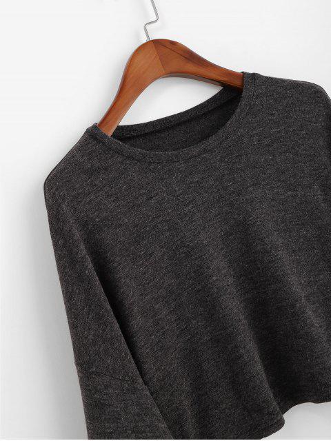 ZAFUL T-shirt Court Goutte Epaule à Manches Evasées - Gris Carbone L Mobile