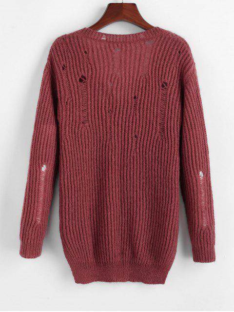 ZAFUL Riss Tiefer Strukturierter Pullover - Roter Wein S Mobile
