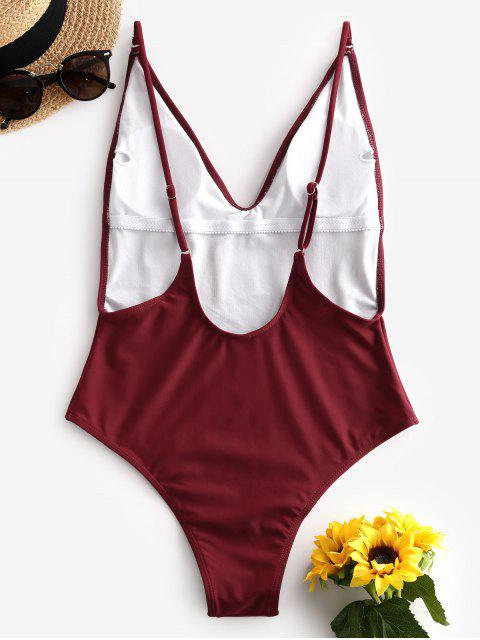 unique ZAFUL Plunge Front Padded Backless One-piece Swimsuit - RED WINE L Mobile