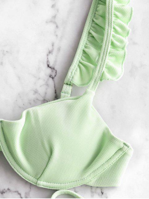 ZAFUL С оборкой На косточках Текстурированное Бикини Купальник - Мятно-зеленый M Mobile