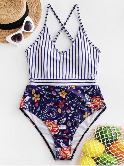women's ZAFUL Flower Striped Criss Cross Tie Back Swimsuit - MULTI-A M Mobile