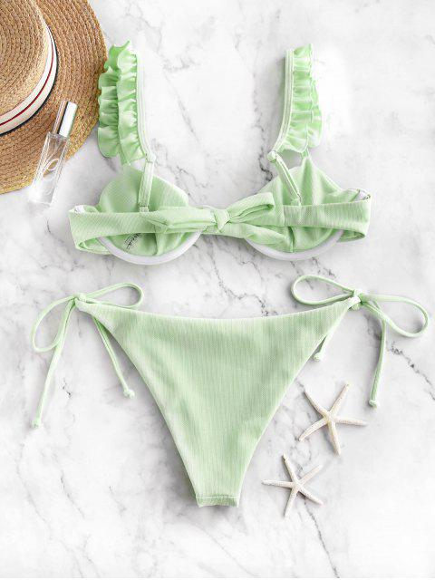 lady ZAFUL Frilled Textured Tie Underwire Bikini Swimsuit - MINT GREEN M Mobile