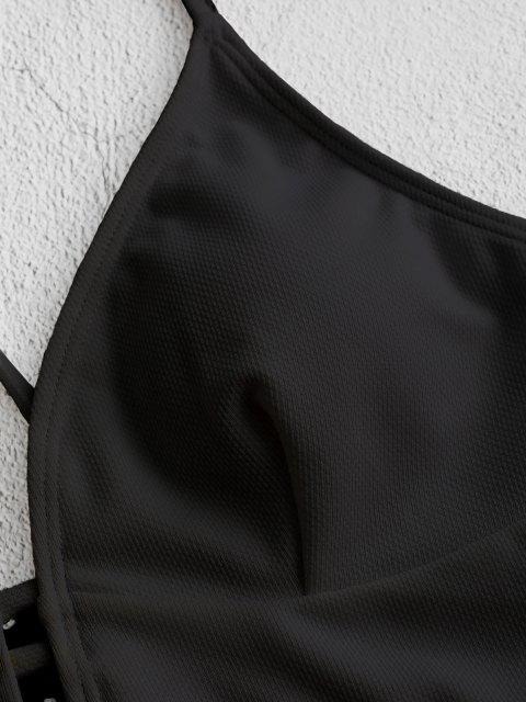 chic ZAFUL Textured Strappy Crisscross Lace-up Bikini Top - BLACK XL Mobile