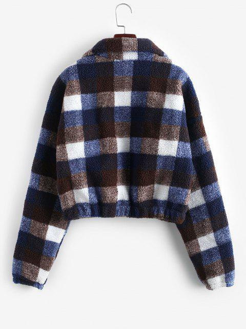 lady Plaid Crop Faux Fur Sweatshirt - MULTI-D L Mobile