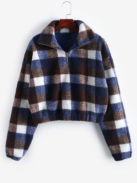 buy Plaid Crop Faux Fur Sweatshirt - MULTI-D S Mobile