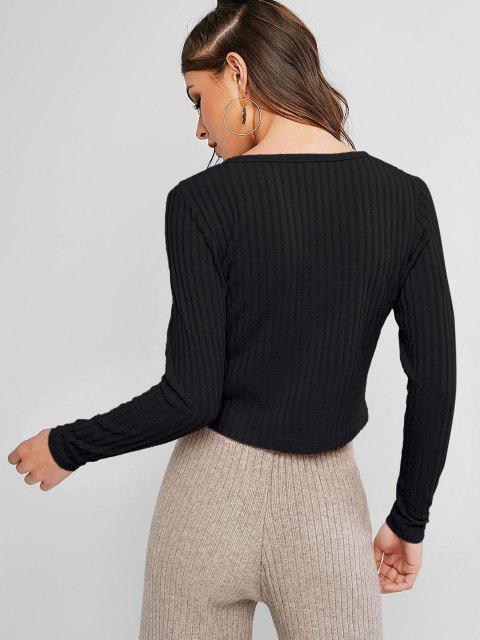 Cardigan Boutonné Côtelé en Couleur Unie - Noir XL Mobile