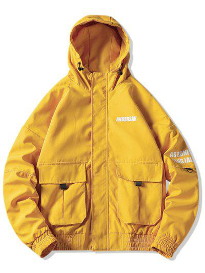Letter Print Pocket Decoration Hooded Jacket - Yellow 2xl