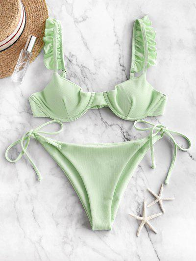 ZAFUL Frilled Textured Tie Underwire Bikini Swimsuit - Mint Green S