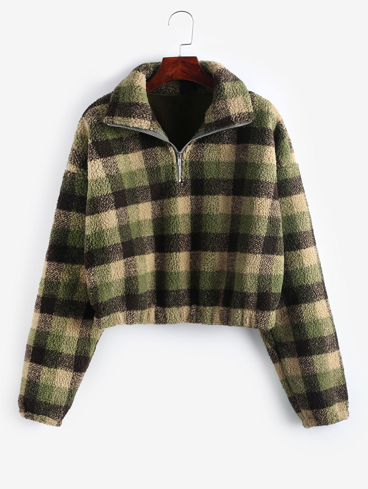 Plaid Crop Faux Fur Sweatshirt
