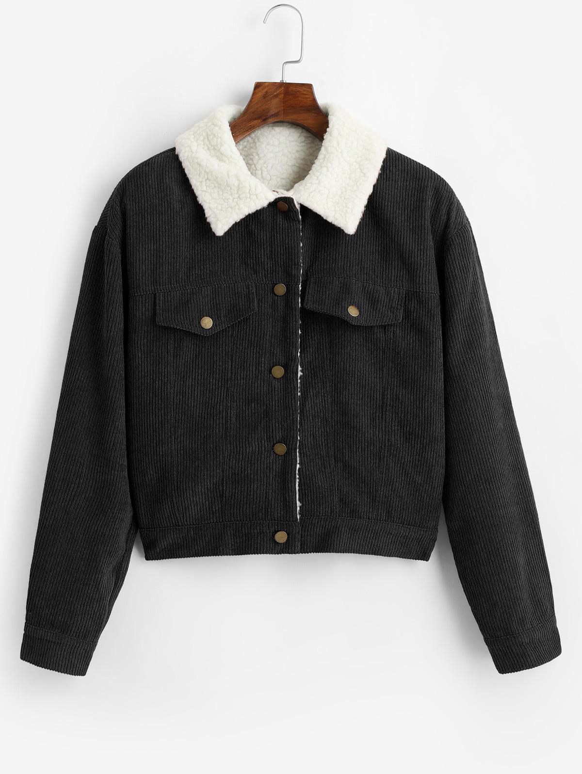 ZAFUL Fuzzy Corduroy Jacket