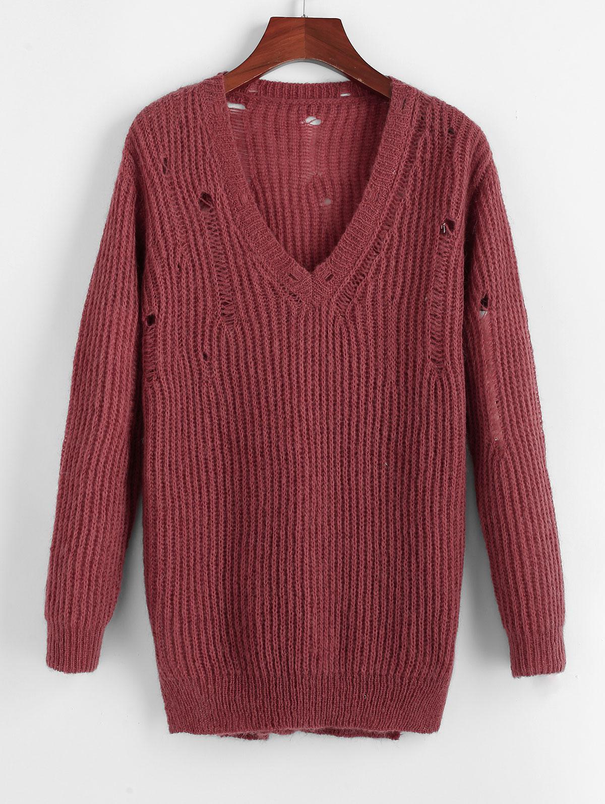 ZAFUL Ripped Plunge Textured Plain Sweater