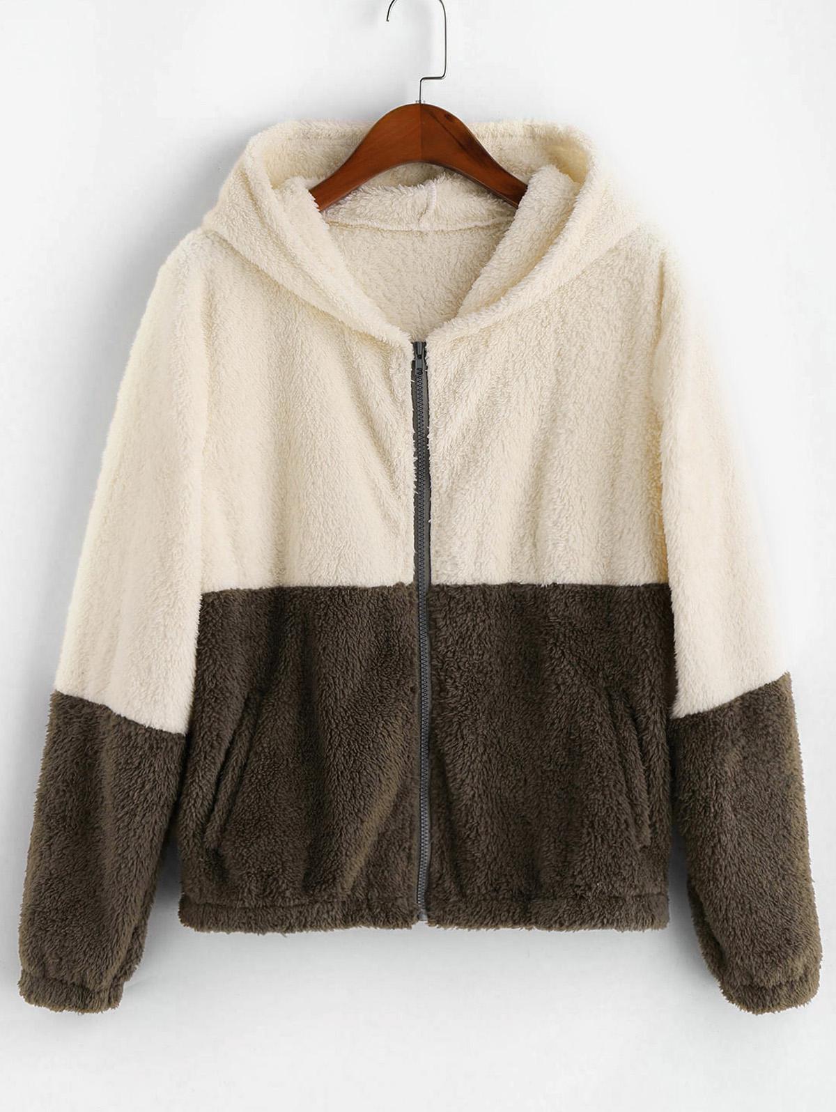 ZAFUL Zip Up Fluffy Faux Shearling Two Tone Jacket