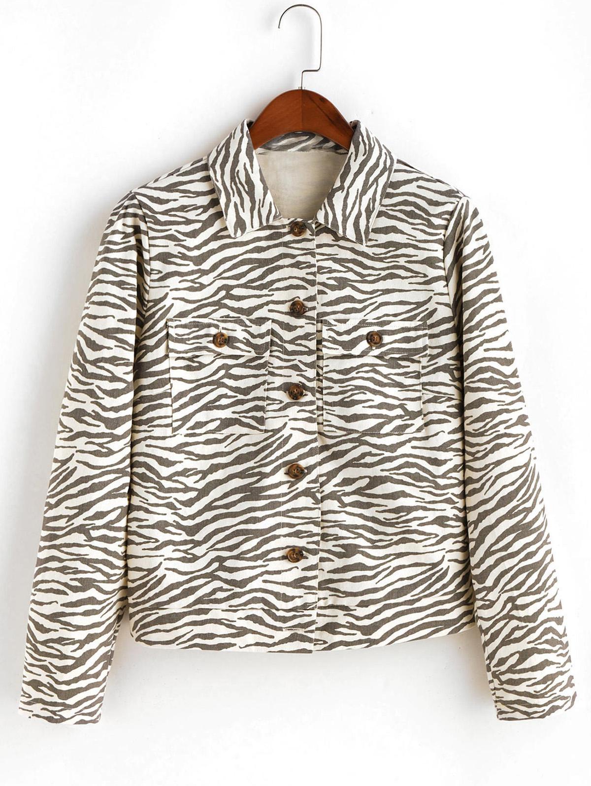 ZAFUL Button Up Flap Pockets Zebra Print Shirt Jacket