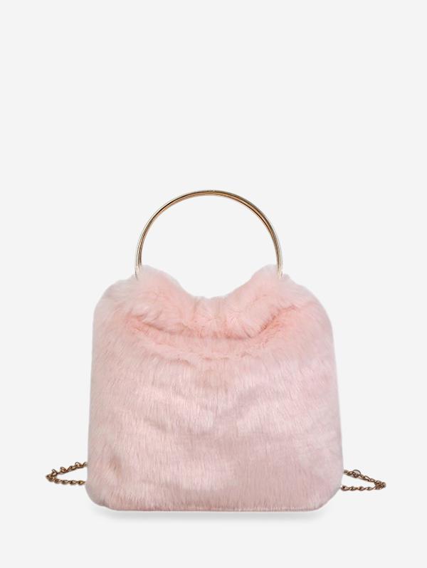 Metal Handle Faux Fur Chain Handbag