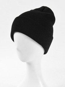 الصلبة محبوك قبعة الشتاء النسيج الناعمة - أسود