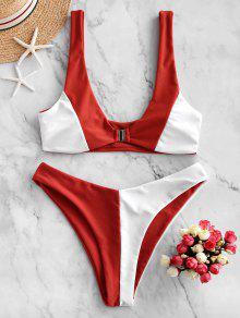 Colorblock High Cut Bikini Swimsuit