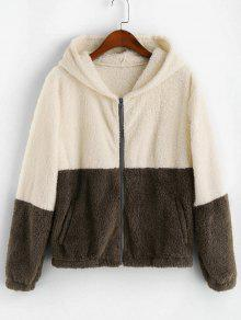 Zip Up Fluffy Colorblock Jacket