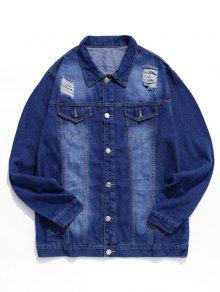 Ripped Decoration Button Fly Jacket