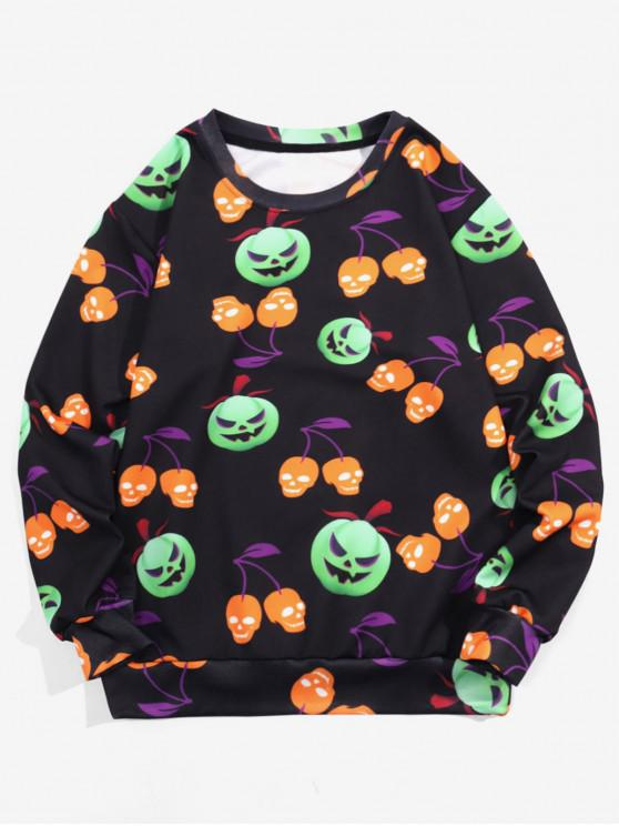 Calabaza de Halloween impresión ocasional de la camiseta - Negro L