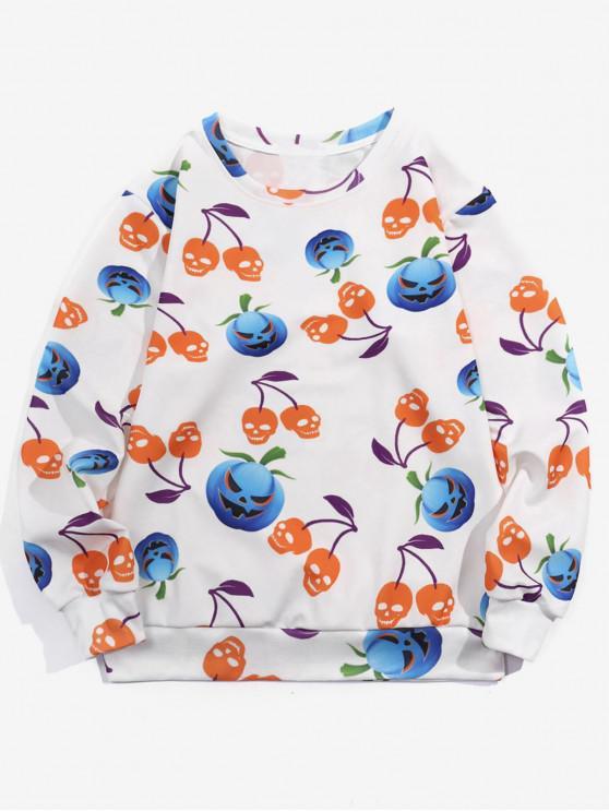 women's Halloween Pumpkin Print Casual Sweatshirt - WHITE XL