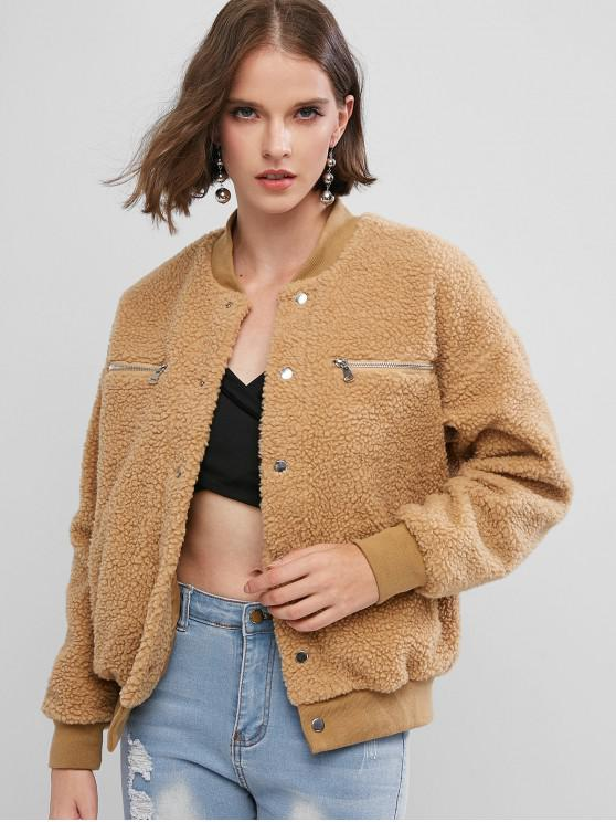 trendy Zippered Snap Button Pockets Teddy Jacket - BROWN S