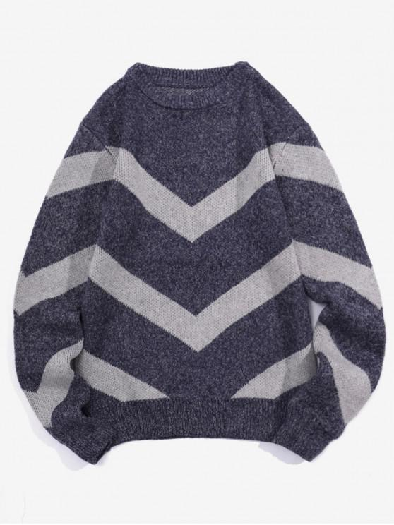 outfit Chevron Graphic Heather Knit Pullover Sweater - CADETBLUE M