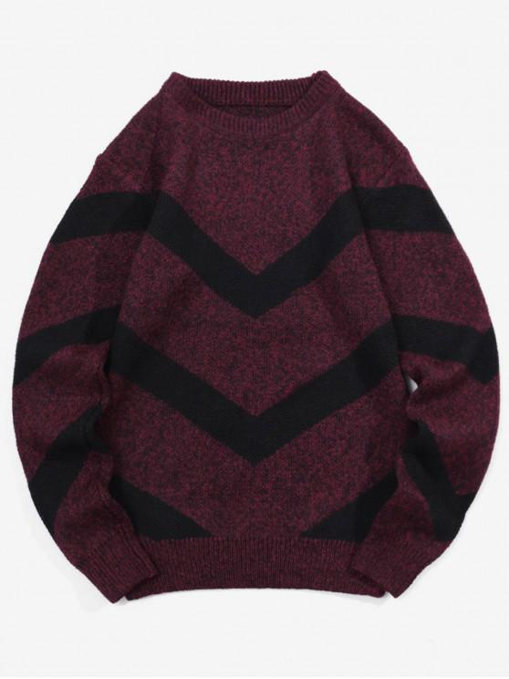 outfits Chevron Graphic Heather Knit Pullover Sweater - RED WINE XS