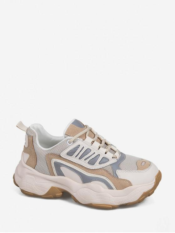 latest Colorblock Pinhole Mesh Platform Dad Sneakers - CAMEL BROWN EU 35