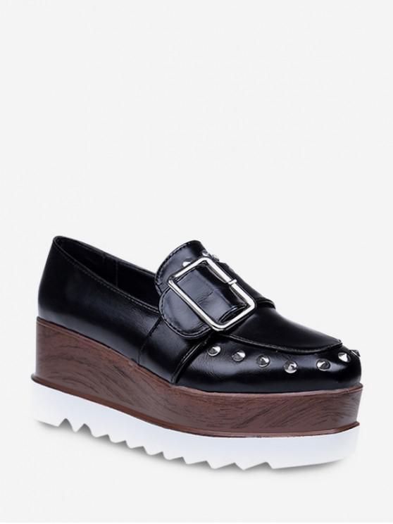 best Studded Square Toe Clog Platform Shoes - BLACK EU 38