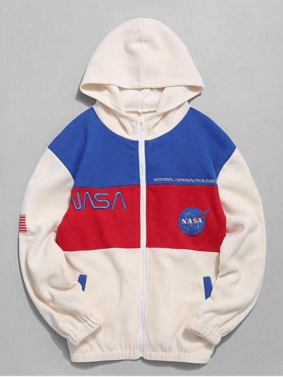 online American Flag Letter Pattern Long Sleeves Jacket - WARM WHITE L