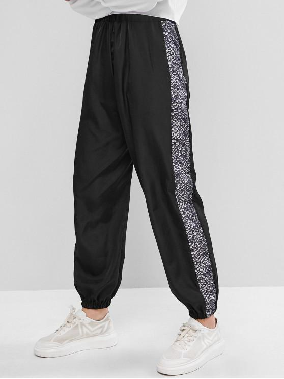 chic High Waisted Snake Print Jogger Pants - BLACK L