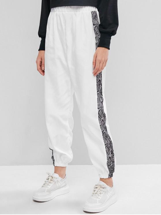 affordable High Waisted Snake Print Jogger Pants - WHITE L