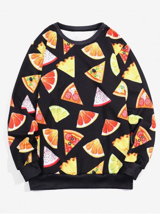 latest Fruit Pattern Casual Sweatshirt - BLACK 2XL