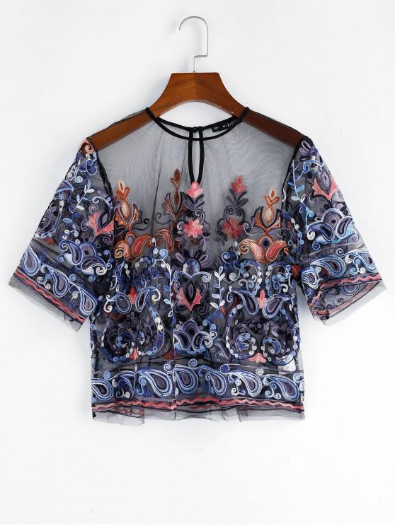 chic ZAFUL Sheer Mesh Embroidered Top - MULTI-E L