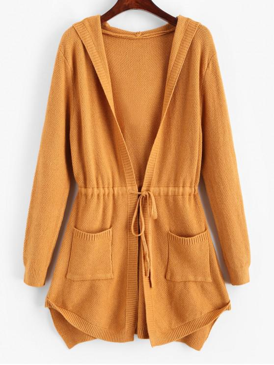 unique Longline Hooded Drawstring Pockets Cardigan - YELLOW ONE SIZE