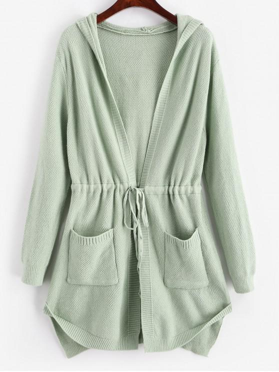 new Longline Hooded Drawstring Pockets Cardigan - GREEN ONE SIZE