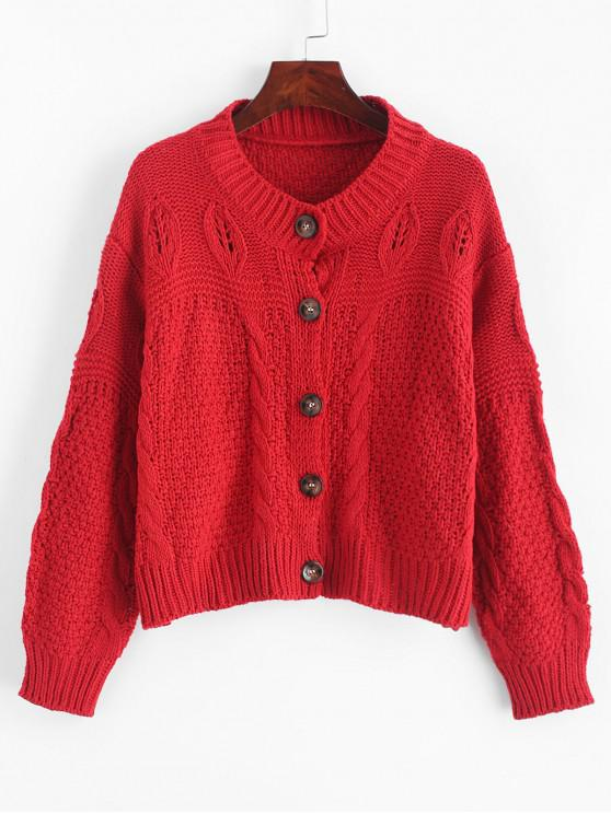 shop Loose Button Up Cable Knit Cardigan - RED ONE SIZE