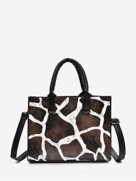 best Print Square Big Leather Handbag - BLACK