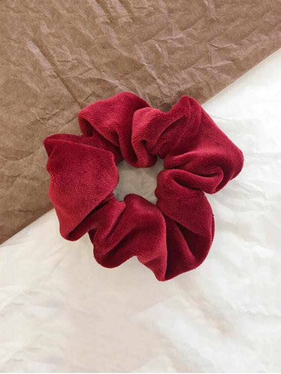 outfit Vintage Solid Velour Fabric Scrunchy - LAVA RED