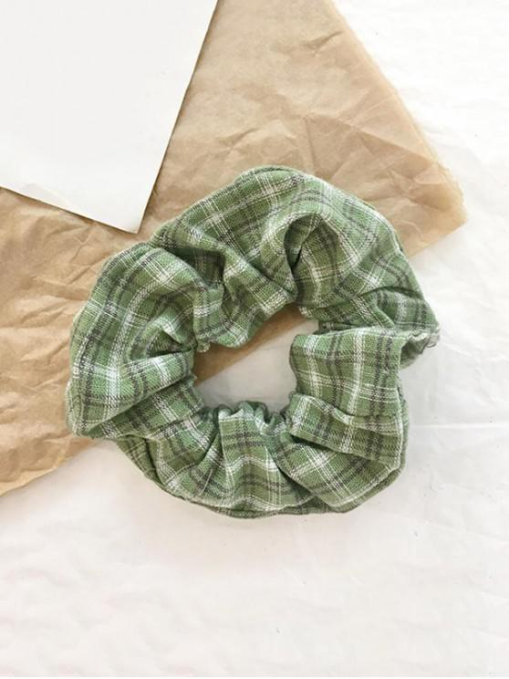 latest College Plaid Fabric Elastic Scrunchy - PISTACHIO GREEN