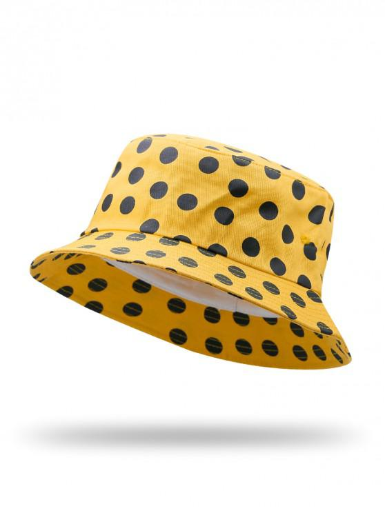 trendy Polka Dot Printed Bucket Hat - YELLOW