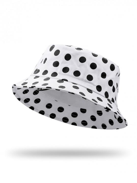 ladies Polka Dot Printed Bucket Hat - WHITE