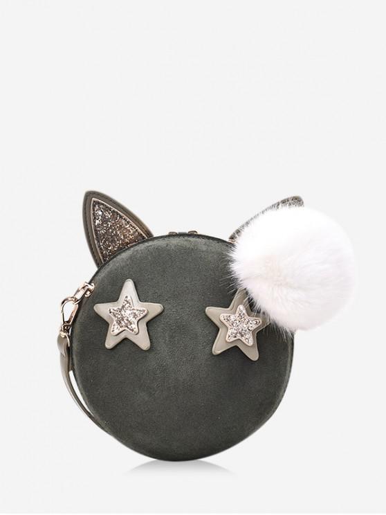 online Round Cartoon Ears Decorate Shoulder Bag - DARK FOREST GREEN