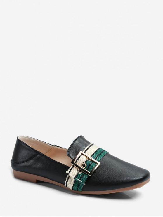ladies Striped Accent Square Toe Slip On Flats - BLACK EU 37