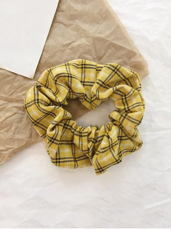 online College Plaid Fabric Elastic Scrunchy - YELLOW