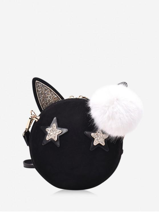 new Round Cartoon Ears Decorate Shoulder Bag - BLACK