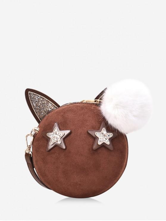 hot Round Cartoon Ears Decorate Shoulder Bag - BROWN